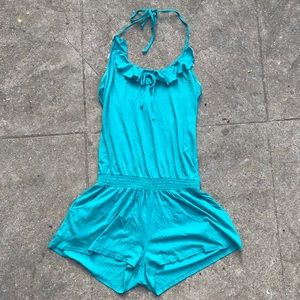 Express Turquoise Halter Top Romper